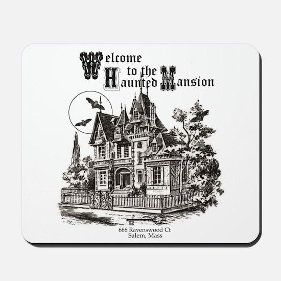 vintage Halloween haunted house Mousepad