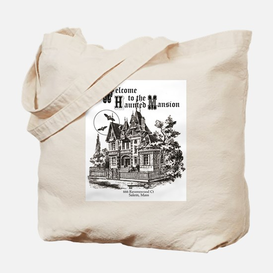 vintage Halloween haunted house Tote Bag