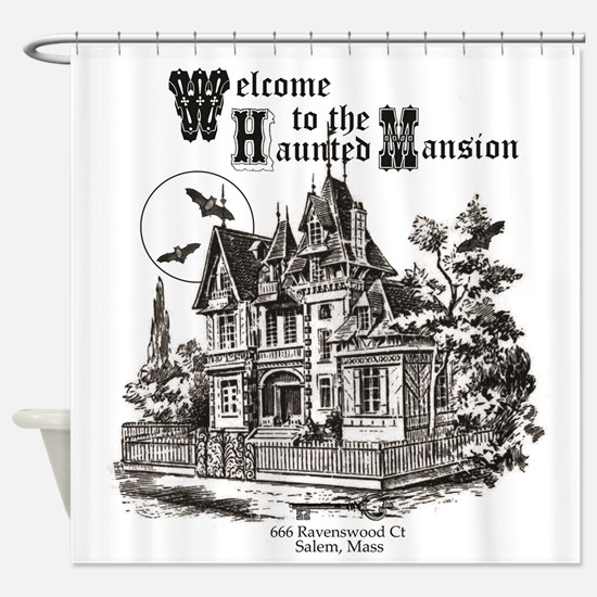 vintage Halloween haunted house Shower Curtain