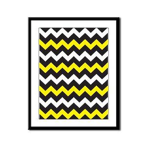 Black Yellow And White Chevron Framed Panel Print