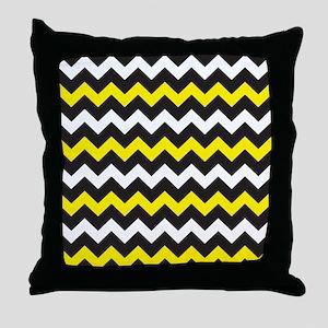 Black Yellow And White Chevron Throw Pillow