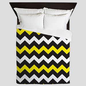Black Yellow And White Chevron Queen Duvet