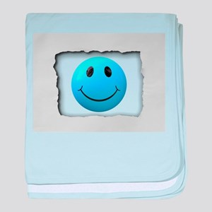 Turquoise Smile Face on White baby blanket