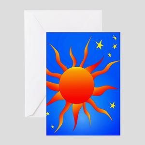 Sun Stars Orange Blue by designeffects Greeting Ca