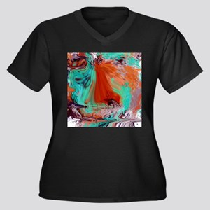 Abstract Aqua and Orange Plus Size T-Shirt