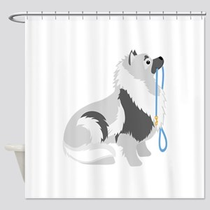 Keeshond Leash Shower Curtain