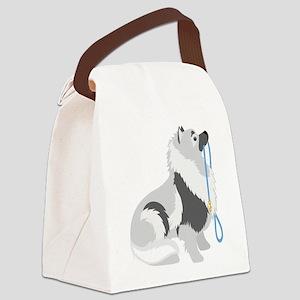 Keeshond Leash Canvas Lunch Bag