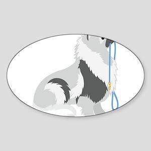 Keeshond Leash Sticker (Oval)