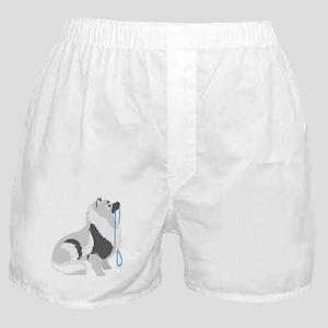 Keeshond Leash Boxer Shorts