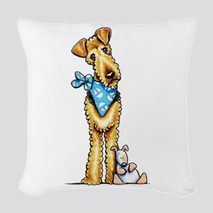 Airedale n Puppy Woven Throw Pillow