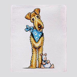 Airedale n Puppy Throw Blanket