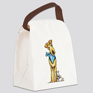 Airedale n Puppy Canvas Lunch Bag