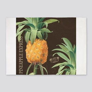 Modern vintage tropical pineapple 5'x7'Area Rug