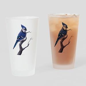 Blue Jay bird Drinking Glass