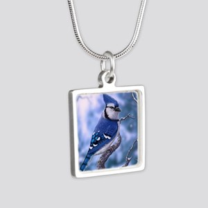 Blue Jay bird Silver Square Necklace
