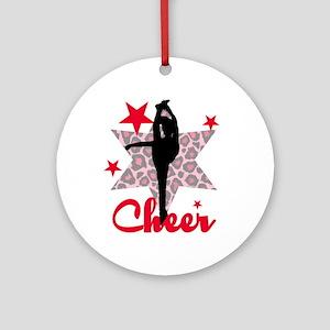 Red Cheerleader Ornament (round)