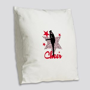 Red Cheerleader Burlap Throw Pillow