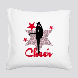 Red Cheerleader Square Canvas Pillow