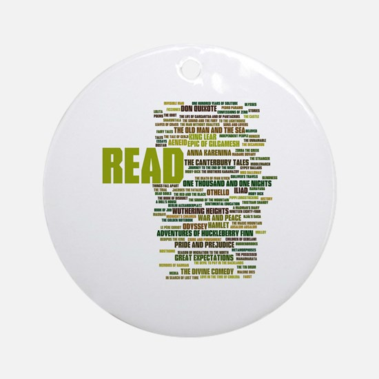 READ!  The 100 Best Books of Litera Round Ornament