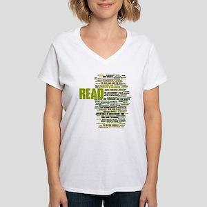 READ!  The 100 Best Books o Women's V-Neck T-Shirt