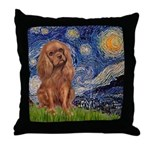 Starry Night Ruby Cavalier Throw Pillow
