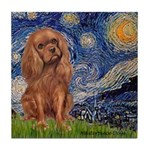 Starry Night Ruby Cavalier Tile Coaster