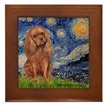 Starry Night Ruby Cavalier Framed Tile