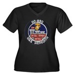 USS MEREDITH Women's Plus Size V-Neck Dark T-Shirt