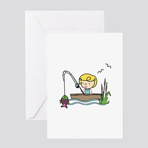 Fishing Girl Greeting Cards