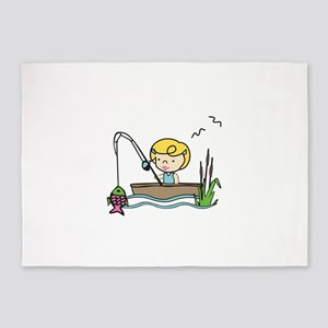 Fishing Girl 5'x7'Area Rug