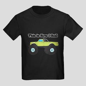 How I Roll (Monster Truck) Kids Dark T-Shirt