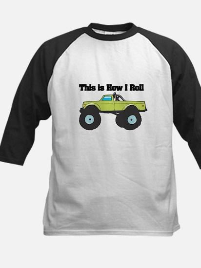 How I Roll (Monster Truck) Kids Baseball Jersey