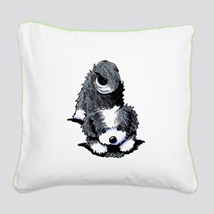Havanese Bow Square Canvas Pillow