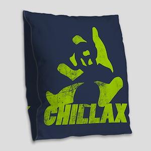 Chillax Lime Grunge Panda Burlap Throw Pillow