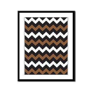 Black Brown And White Framed Panel Print