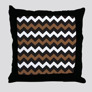 Black Brown And White Throw Pillow