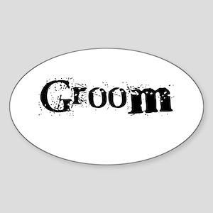 Groom Black Text Oval Sticker