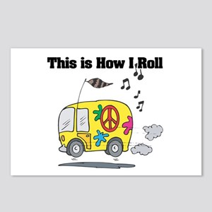 How I Roll (Hippie Bus/Van) Postcards (Package of