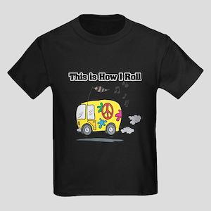 How I Roll (Hippie Bus/Van) Kids Dark T-Shirt