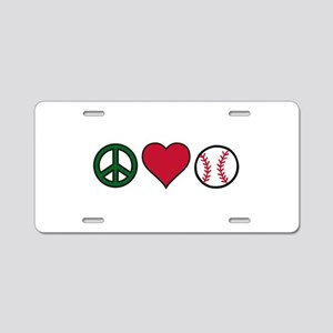 Peace Heart Baseball Aluminum License Plate