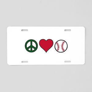 Peace Heart Baseball Aluminum License Plate