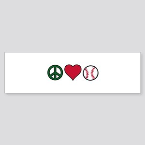 Peace Heart Baseball Bumper Sticker