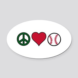 Peace Heart Baseball Oval Car Magnet