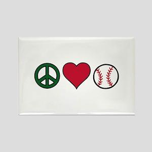 Peace Heart Baseball Magnets