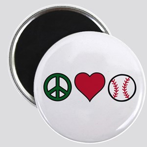 Peace Heart Baseball Magnets