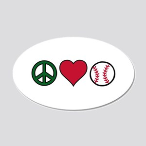 Peace Heart Baseball Wall Decal