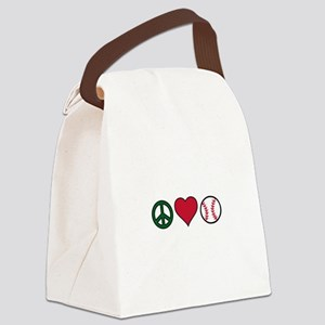 Peace Heart Baseball Canvas Lunch Bag