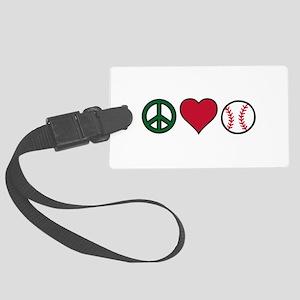 Peace Heart Baseball Luggage Tag