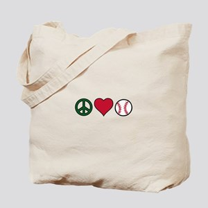 Peace Heart Baseball Tote Bag