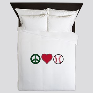 Peace Heart Baseball Queen Duvet